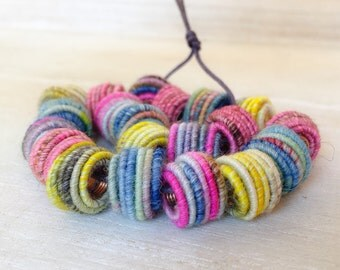 Big Hole (5.5mm) Handmade Fabric Textile Beads for Artisan Jewelry Designs - handmade Bead - cord Bead - Boho Hippie Bead - Textile Art Bead