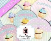 75% OFF SALE Digital Collage Sheet Circle LOVE Cupcake 2.5 inches Scrapbooking Tags Digital download