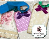 75% OFF SALE VINTAGE Laces and Velvet Bows Digital Collage Sheets Digital Hang tags and Square Cards Digital Download