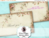 75% OFF SALE Premade THANK you Business Cards Set No 01 Little Roses Coordinates to Etsy Banners Set No 01 Digital Instant Download