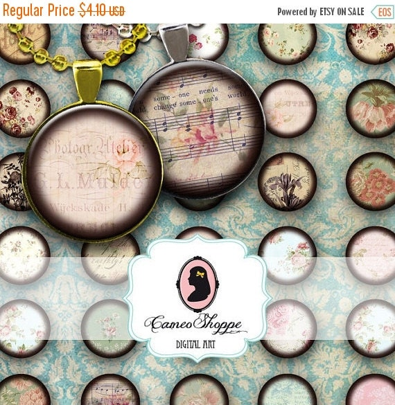 75% OFF SALE SHABBY Chic No 01 1 inch Circles Digital Collage Sheet Printable Bottlecaps Pendants Magnets Buttons