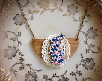 Wooden bunny necklace blue pink florals and lace