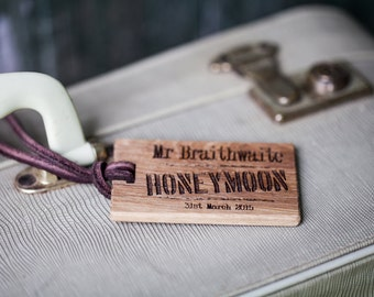 Pair of Honeymoon Luggage Tags|Personalised Luggage Tag|Mr and Mrs Luggage Tag|Honeymoon Gifts|Wedding Gifts|Travel Gifts|Travel Accessories