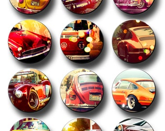 Vintage Car Birthday Party 50th Birthday Pin Button Favors 2.25 inch pinback button pin badge Party Supplies Party Favor