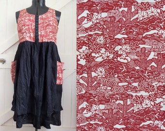 Women's Summer Dress,  Recycled Kimono, Japanese Design, Sundress, Handmade, Linen Clothing, Maternity, Japanese  print, Natural fibres
