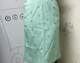 1950's Mint Green Fleur de Lis Pencil Skirt