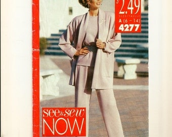 A Loose Fit, Below Hip Jacket, Cap Sleeve Pullover Top, and Straight Leg Pants Pattern for Women: Uncut - Sizes 6 thru 14 • Butterick 4277