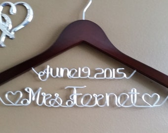 Wedding Hanger with Hearts for your wedding pictures,Personalized custom bridal hanger, brides hanger, Bridal Hanger, Wedding hanger, Bridal