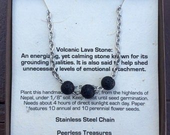 Lava Bead Necklace - Stainless Steel Chain - Volcanic Lava  - Gemstone Necklace - Lava Necklace - Silver Jewelry - Volcanic Lava - 8mm Beads