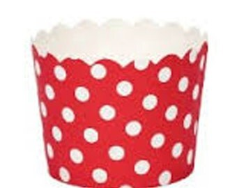 BAKING CUPS - Red with White Polka Dots - Set of 25 : The Paper Doll