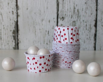 CANDY CUPS - White with Red Dots - Set of 20 : The Paper Doll