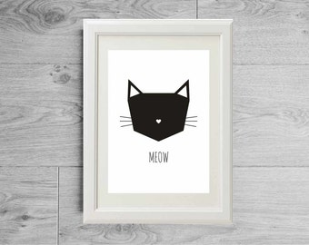Cat print - Meow print - Black and white print - Cat poster - Cat lover - Meow poster - Animal poster - Animal print - Matte paper