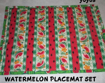 WATERMELON PLACEMAT SET of Four Summer Home Cottage Cabin Holiday Picnic Porch Decor