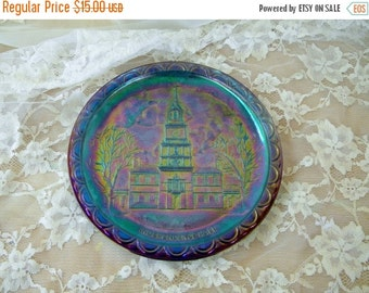 ON SALE Independence Hall Carnival Glass Plate, Made for Bicentennial in 1976, Iridescent, Blue, Purple and Green