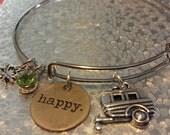 Happy Camper adjustable charm Bracelet