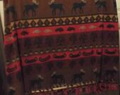 Moose Rustic Blanket Log Cabin Decor Woodland