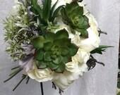 Artificial Silks Peonies Roses Succulents Cream Green Hand Tied Wedding Bouquet