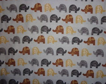 Gray with Brown Elephants Flannel Fabric by the Yard