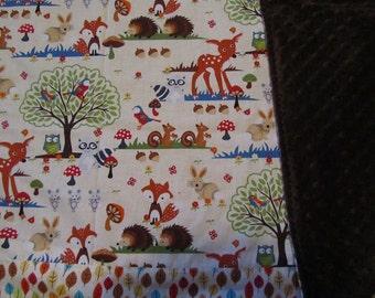 Girly Woodland/Deer/Owl/Rabbit/Fox/Possum/Leaf Cotton/Minky Baby/Toddler Blanket