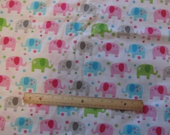 White with Pastel Colored Elephant Cotton Fabric by the Yard