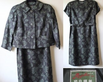 40% off  Elegant Jacquard Dress Suit (3pc)     1960s     Size 4     Belted Dress