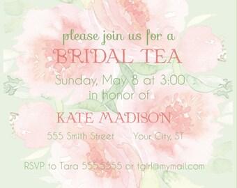 Soft Floral Bridal Tea Invitation