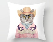 Country Cat THROW PILLOW, Country Western, Animal Pillow