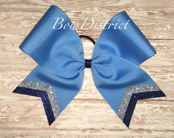 """3"""" Carolina Blue Team Cheer Softball Volleyball Bow with Silver and Navy Blue Glitter Tail Stripes"""
