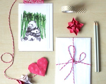 Panda Mum and Child, Mother's day, Illustrated Blank Greeting card,