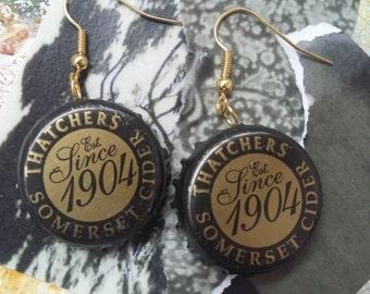 Thatchers Somerset Cider bottle cap earrings