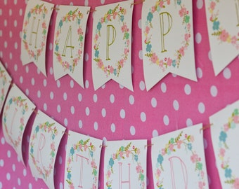 Wild Flower Party Banner - Floral Banner - Wildflower Banner - Instant Download and Edit File at home with Adobe Reader
