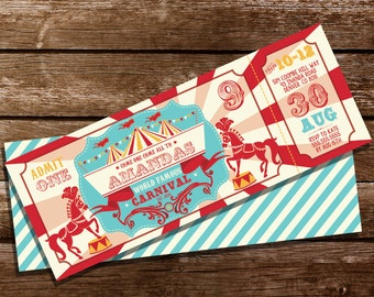 Carnival Ticket Invitation - Circus Invitation - Carnival Party Invitation - Instant Download and Edit File at home with Adobe Reader