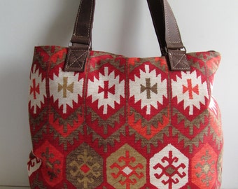 Canvas Bag, Ikat bag in red