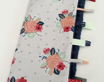 Quick Ship!...Lovey Ribbon Sensory Blanket...Grey-Coral-Mint Flowers with Navy Minky...Can Be Personalized...No Loops