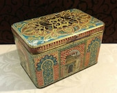 Beautiful Antique Tin Box, Ornate Box, Ancient Architecture, Middle Eastern, Indian, Black Door, Decorative Tin, c 1910
