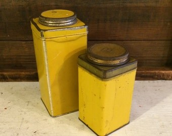 Two Primitive Kitchen Mustard Yellow Spice Style Tins, Letter B, PATINA Farmhouse Kitchen, Retro Yellow Kitchen Tins