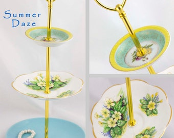 Jewelry Stand 3 Tiered Server Vintage Blue Yellow China, Jewelry Display Tidbit Catchall Tray, Hostess Gift Three Tier Serving Stand