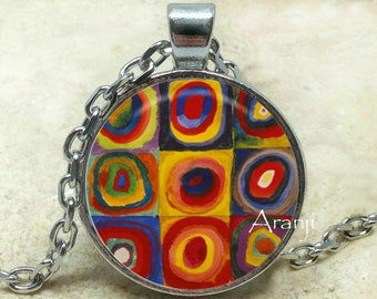 Kandinsky necklace, Kandinsky pendant, abstract art Pendant, abstract Pendant, abstract Necklace, Circles, Pendant #AR134P