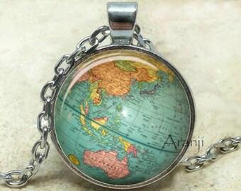 Globe art pendant, globe pendant, globe pendant, atlas necklace, map jewelry, vintage globe necklace, map, antique globe, Pendant#HG188P