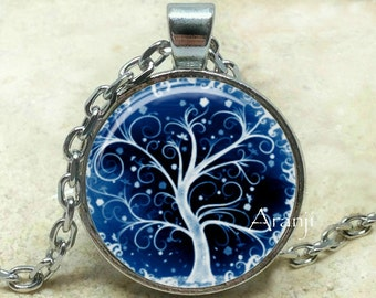 Blue curly tree art pendant, winter tree necklace, blue curly tree pendant, cobalt tree necklace, Pendant #PL159P