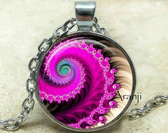 Fuchsia fractal art pendant, fractal art necklace, fractal jewelry, purple spiral necklace, purple spiral, Pendant #PA167P