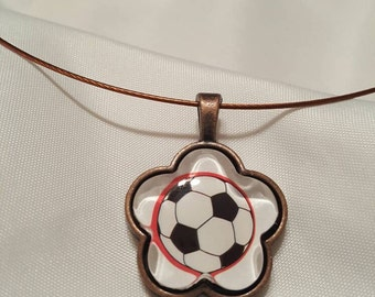Soccer Necklace Flower Shaped Pendant