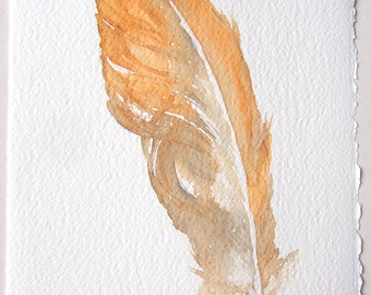 Watercolor feather painting- Ocher feather illustration/ Minimalist art/ Fantasy feather artwork/ Small watercolor 7,5'x11'/ Home decor