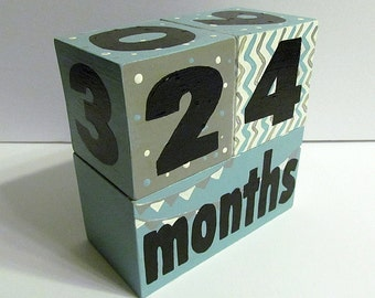 Baby Toddler Wooden Stacking Block/Age Block/Date Block Photo Prop/Toy made in Canada