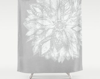 Modern Flower Shower Curtain, grey shower curtain, gray shower curtain, grey white curtain, flower curtain, grey floral curtain