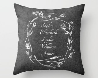 Personalized Children Grandchildren Names Throw Pillow Cover, grandma pillow, mother's day pillow, mother's day gift, gift for mom