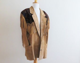 80s Originaux Par Pablo Jacket Fringe Tan Suede Leather Jacket with Shoulder Pads MOD GLAM Women's US Size 12 Medium