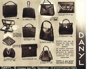 Vintage Paris Purses Advertising Brochure 1930's Danyl Purses