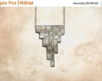 ON SALE Geometric Silver Leather Chain Statement Necklace | Leather Bib Necklace | Handmade Fashion Statement Jewelry
