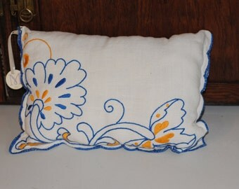Handmade pillow vintage embroidered linens